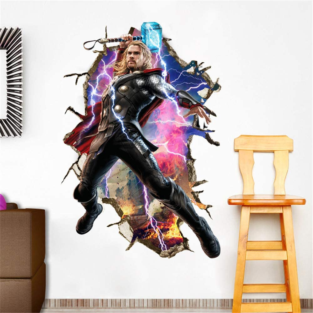 HU SHA Marvel Wall Stickers Thor Wall Decals, Excellent Vinyl Wall Decor for Boys Room Living Room (35.4 x 23.6 inches)