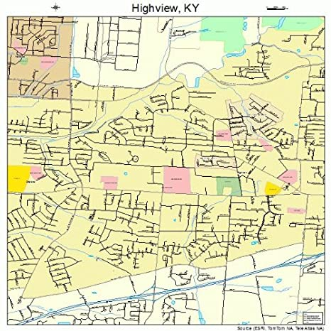 Amazon.com: Large Street & Road Map of Highview, Kentucky KY ...