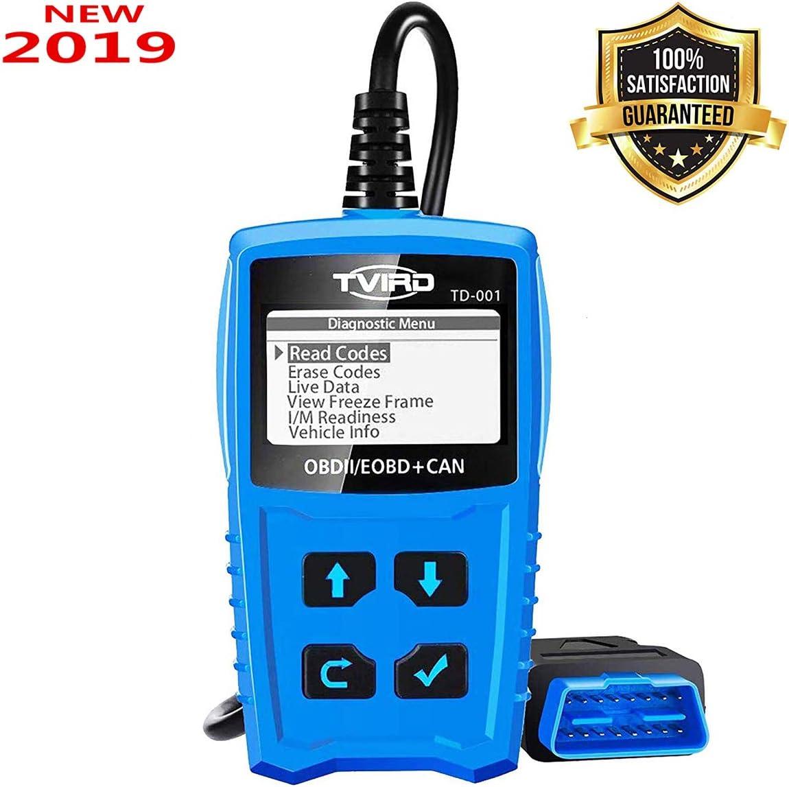 Tvird OBD2 Auto Diagnóstico,OBD II Escáner Motor Detector de Fallas Eliminar Códigos Error,Adecuado para Coche con Modo OBD2 / EOBD/Can e Interfaz OBDII de 16 Pin, Detección de Estado de Batería