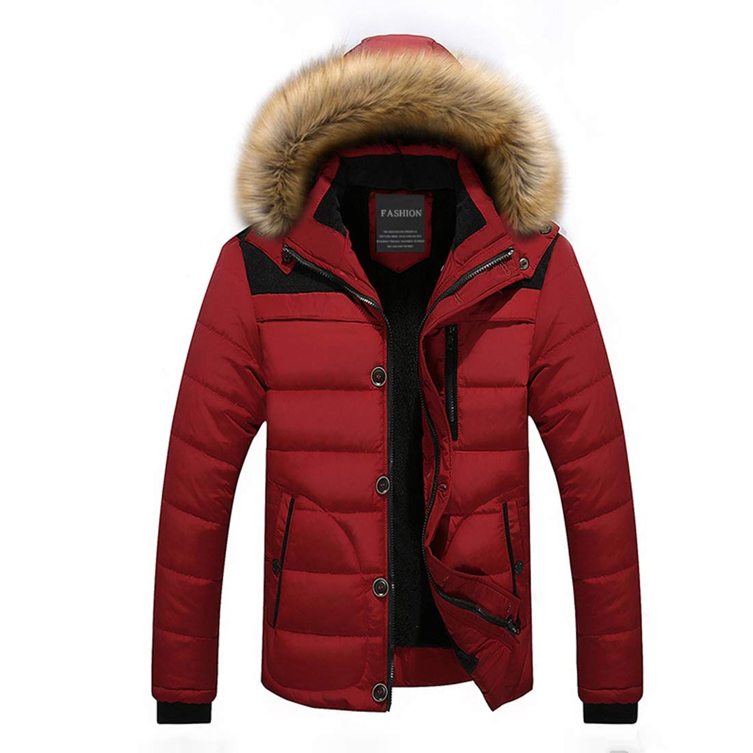 TDA Men's Winter Thicken Warm Outwear Windproof Faux Fur Hood Field Jacket Cotton Coats