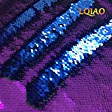 LQIAO 1 Yard Purple Blue Sequin Fabric Flip Up Mermaid Reversible Color Changing Strips Shimmer Sequin Fabric by the Yard Wedding/Pillow Cover/Dress Home DIY