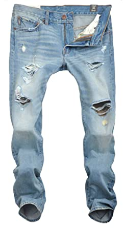 MR. R Men's Ripped Distressed Jeans Light Blue at Amazon Men's ...
