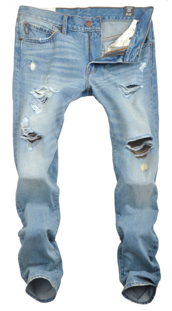 Men's Summer Ripped Distressed Washed Denim Jeans Light Blue 34