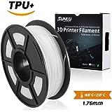 Filamento flexible de la impresión de SUNLU 1.75mm TPU 3D, precisión dimensional +/- 0.02 mm, carrete 1KG, 1.75 mm, blanco