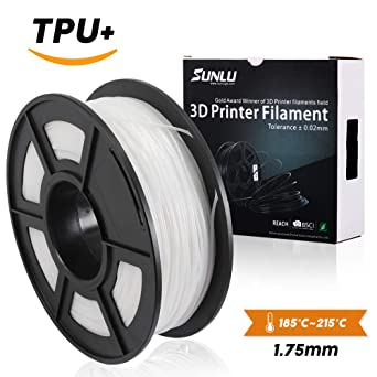 Filamento flexible de la impresión de SUNLU 1.75mm TPU 3D, precisión dimensional +/- 0.02 mm, carrete 1KG, 1.75 mm, blanco