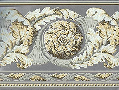 Grey Leafy Floral Design Wallpaper Border 4681 VT