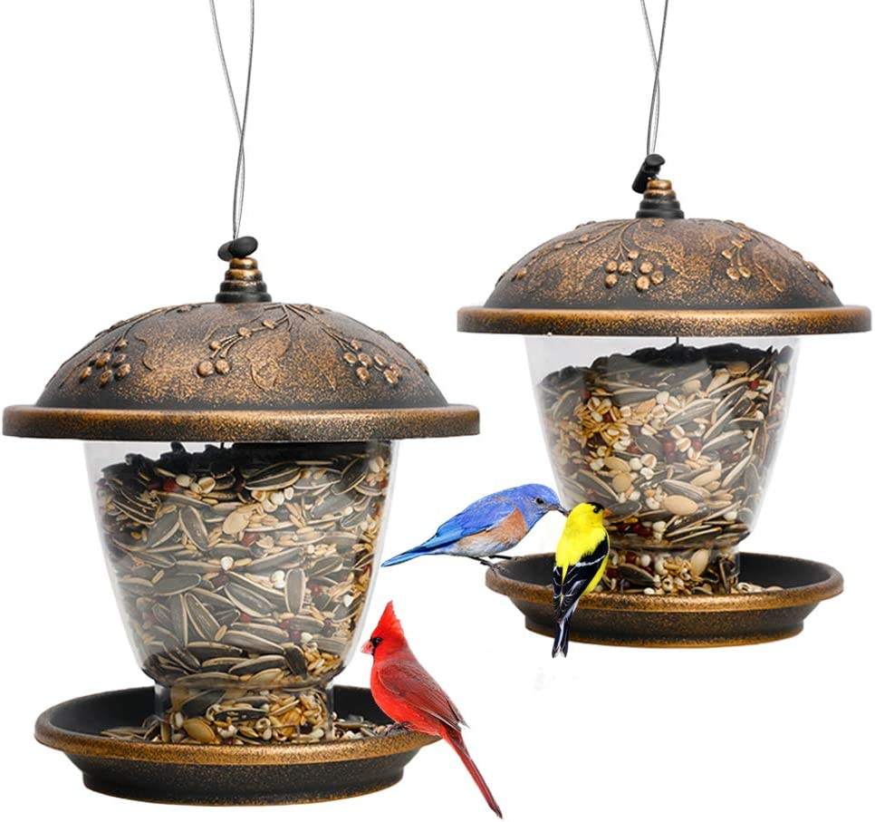 Solution4Patio Expert in Garden Creation #G-B129A00-US 2 Pack Cord Lock Bird Feeder, Squirrel-Proof, Holly Berry Gilded Chalet Shaped, Panorama, Large Capacity, Easy to Clean & Refill, Thick Plastic