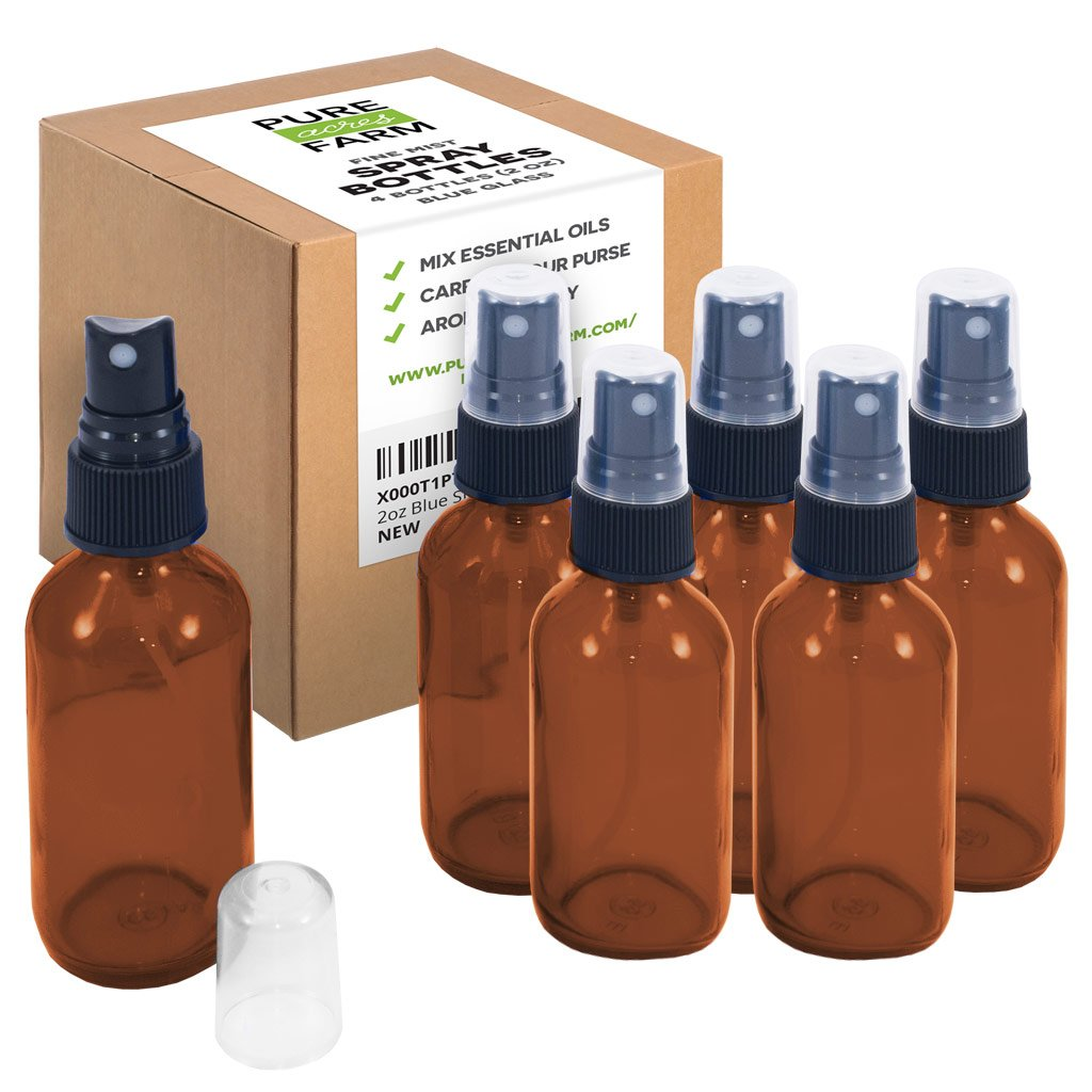 2oz Amber Glass Spray Bottles (6 Pack, Amber) Pure Acres Farm