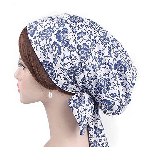 Vintage Women Cotton Head Scarf Chemo Cap Bowknot Turban Head wrap (Blue and White) ()