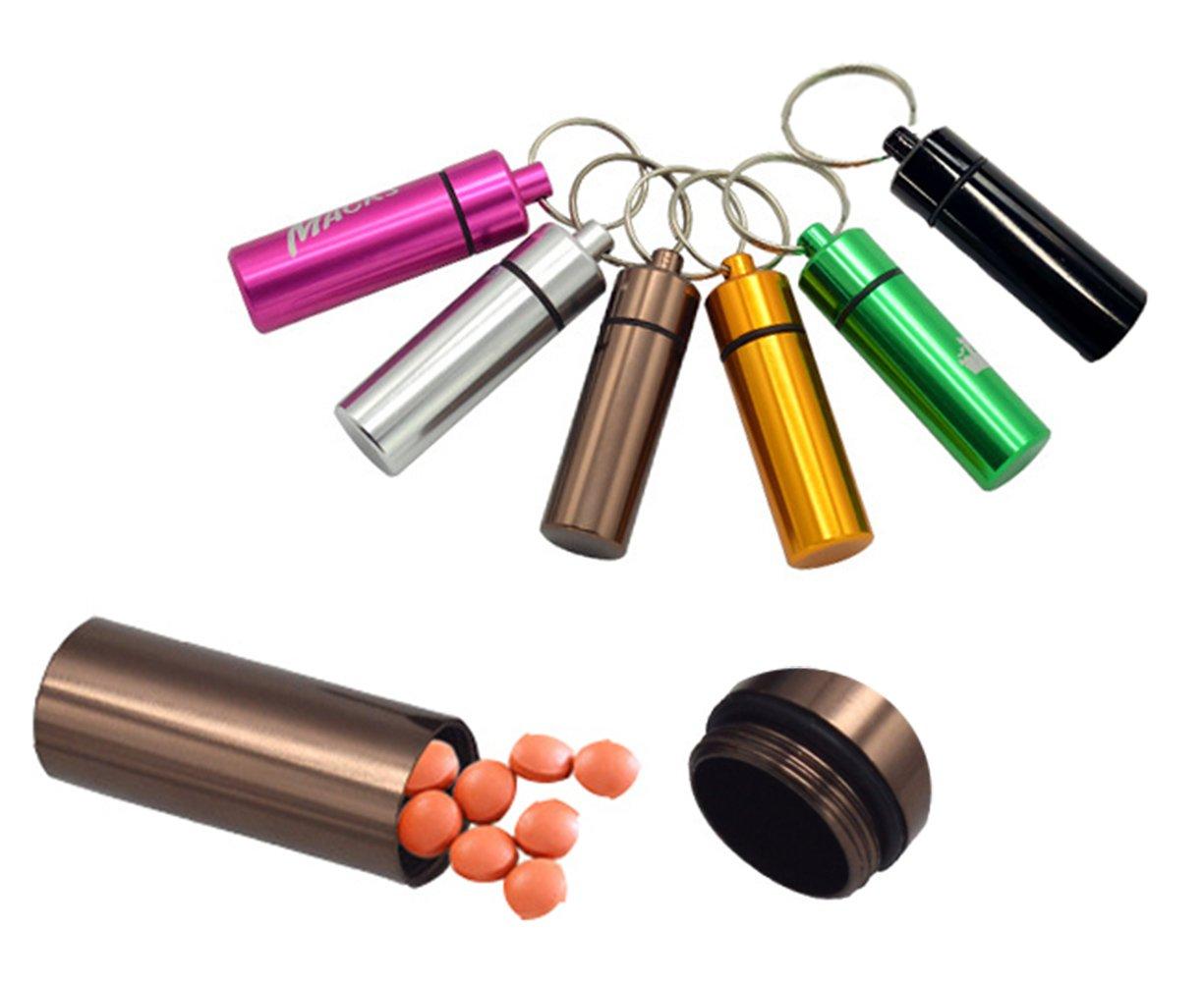 Yunko 6 Pcs Waterproof Aluminum Pill Bottle Organizer Box Case Drug Holder Keychain Container Travel Medicine Storage Color Random by YunKo (Image #1)