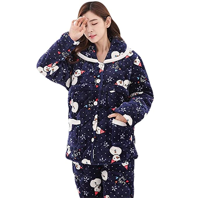 b4a0336c3 BOZEVON Mujer Embarazada Pijama de Lactancia Invierno Ropa - Un Juego de  Botones de Vellón Casual