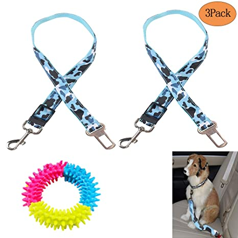 Dog Seat Belt Harness >> Evomosa Dog Seat Belt 2 Packs Adjustable Car Safety Belt For Cat Dog Vehicle Seatbelt Harness Heavy Duty Durable Restraint Lead Free Chew Toy Pack Of