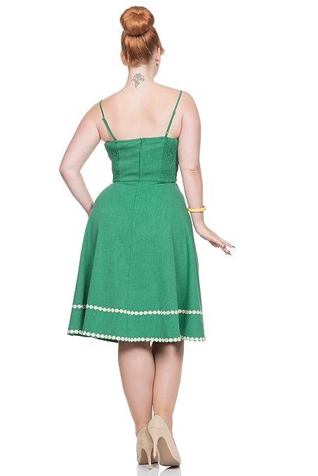 89bc3d764101 Voodoo Vixen Deliliah ausgestellt Daisy Sommer grün Kleid - Grün, UK 14  (XL)  Amazon.de  Bekleidung