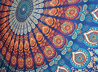 Bless International Indian Hippie Bohemian Psychedelic Peacock Mandala Wall Hanging Bedding Tapestry