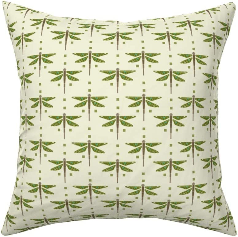 Roostery Throw Pillow, Arts and Crafts Style Craftsman Dragonfly Print, Linen-Cotton Canvas, Knife Edge Accent Pillow 18in x 18in with Insert