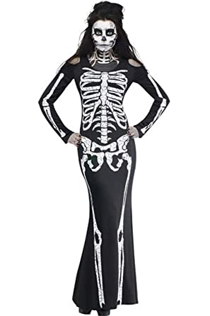 Jugu0026Po Womenu0027s Long Skeleton Dress Adult Halloween Costume  sc 1 st  Amazon.com & Amazon.com: Jugu0026Po Womenu0027s Long Skeleton Dress Adult Halloween ...