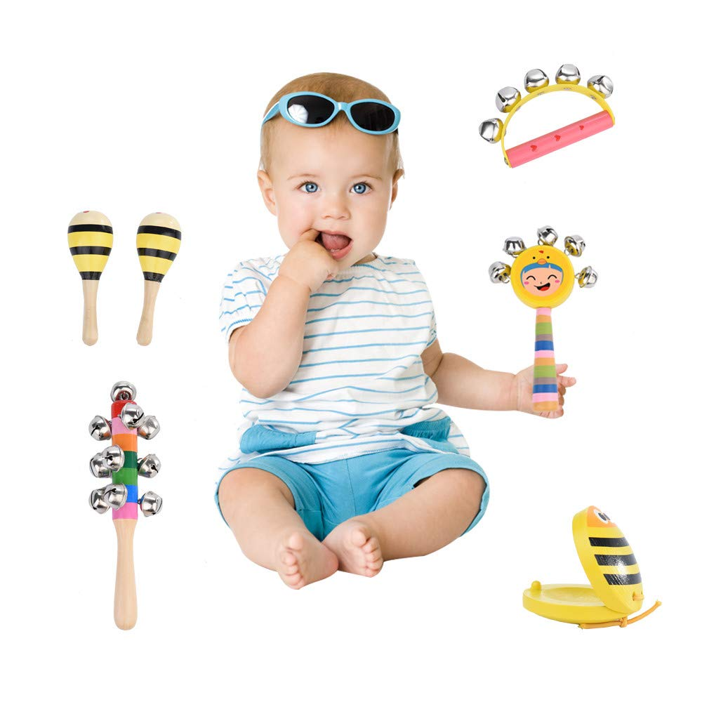 Hstore ✿MusicToy Children's Musical Instrument Toy Set Wooden Percussion Toy Best Holiday Birthday DIY Gift Creative Musician Child Safety Musical by Hstore