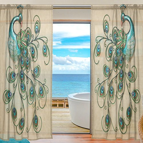 INGBAGS Bedroom Home Decor Living Room Decorations Tan Peacock Feathers Pattern Print Tulle Polyester Door Window Sheer Curtain Drape Two Panels Set 55x78 inch ,Set of 2