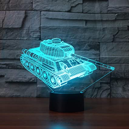 KangYD Game Tank - Lámpara de escritorio de mesa 3D, Luz de ...