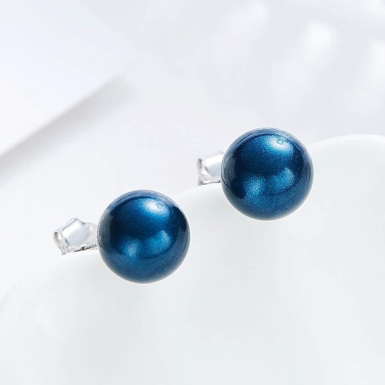 Silver Material Earrings Girls Women Round Bead Stud Earrings Anniversary