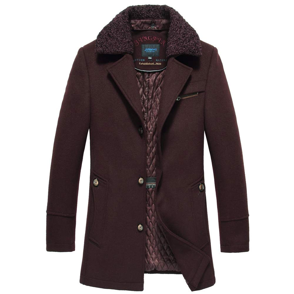 G-Real Men's Winter Medium Length Woollen Jacket Thickened Single Breasted Detached Coat with Removable Hood