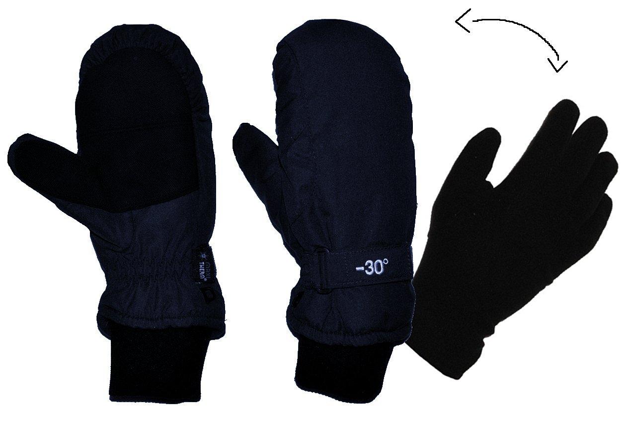 2 in 1: Fingerhandschuhe im Fausthandschuh für Kälte bis -30 Grad - wasserdicht Thinsulate - sehr warm - Thermo gefüttert - Größe 8 - Thermohandschuhe dunkel blau