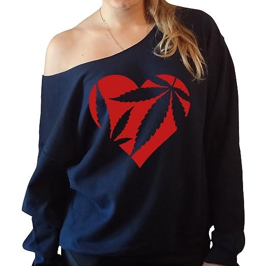 Marijuana Heart Cannabis Love Slouchy Off The Shoulder Sweatshirt (M, Navy)
