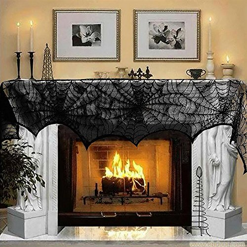 Halloween Decorations For Mantle (Halloween Decorations Black Lace Spiderweb Fireplace Mantle Scarf Cover Festive Party Supplies Black Cover 18 x 96