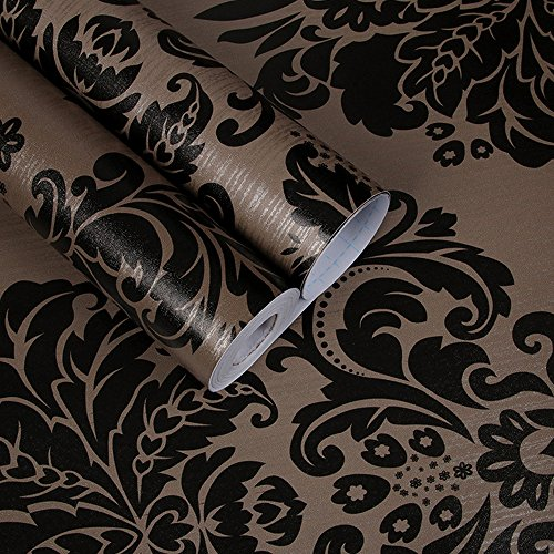 SimpleLife4U Black Damask Self-Adhesive Shelf Drawer Liner PVC