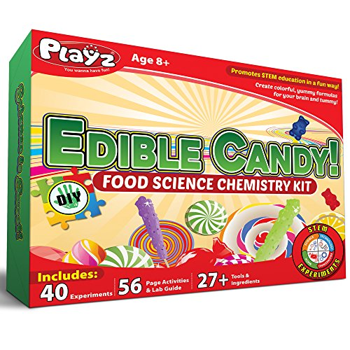 Playz Edible Candy! Food Science STEM Chemistry Kit - 40+ DIY Make Your Own Chocolates and Candy Experiments for Boy, Girls, Teenagers, & Kids Ages 8+ (Candy Facts Fun Facts)