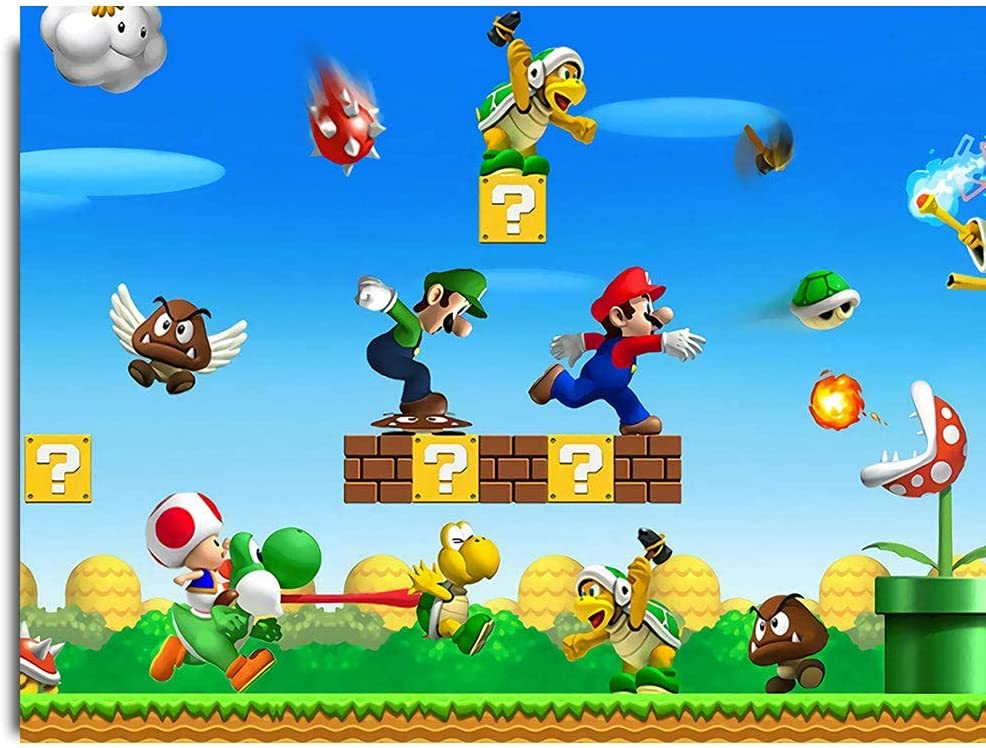 Canvas Pictures for Bedroom Canvas Art Wall Decor for Living Room Super Mario Rescue The Kidnapped Princess Peach Poster Canvas Pictures for Wall Custom 23x17inch