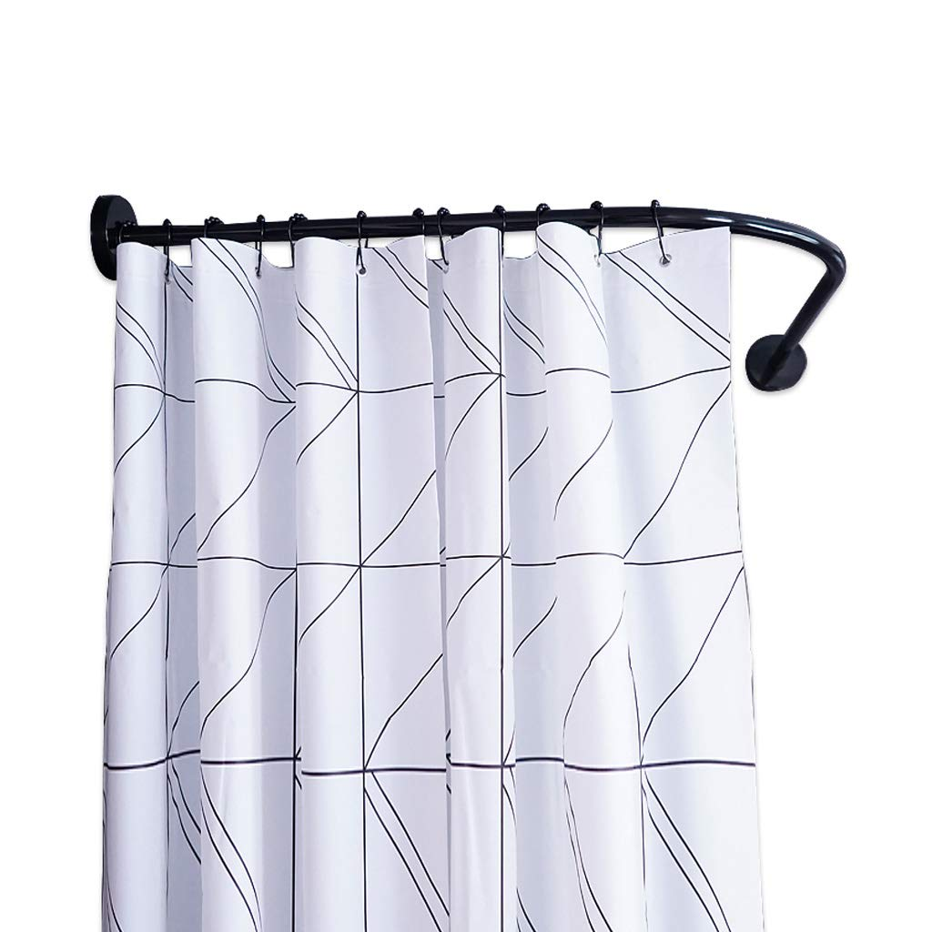 Curved Shower Curtain Rail/Rod, L Shaped - No Drilling Required - Bathtub Shower Rod with Shower Curtain and A Set of Hooks,304 Stainless Steel, Black (Size : 80×90cm) Black (Size : 80×90cm) betty