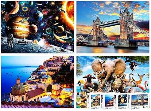 4-in-1 Mega Bundle Puzzle Pack – 4 Most Famous Jigsaw Puzzles 1000 Pieces for Adults – Large Puzzles for Adults 1000 Piece: Dreamy Positano, Space Traveler, Tower Bridge, Jungle Animals