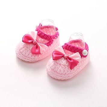 Bebé recién nacido Bebé DDLBiz color rosa calcetines de punto de ganchillo Prewalker de los zapatos