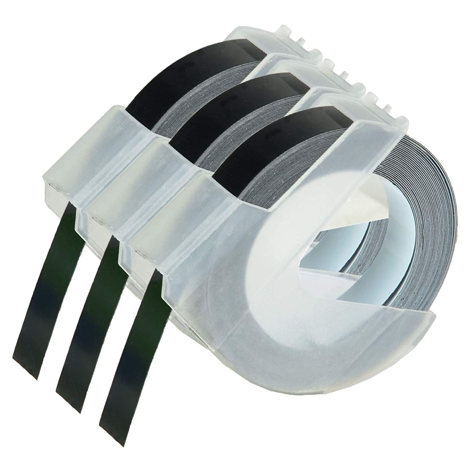 KCYMTONER 3 roll Pack Replace DYMO 3D Plastic Embossing Labels Tape for Embossing White on Black 3/8'' x 9.8' 9mm x 3m 520109 Compatible Dymo Executive III Embosser 1011 1550 1570 1610 Label Markers altom international Inc.