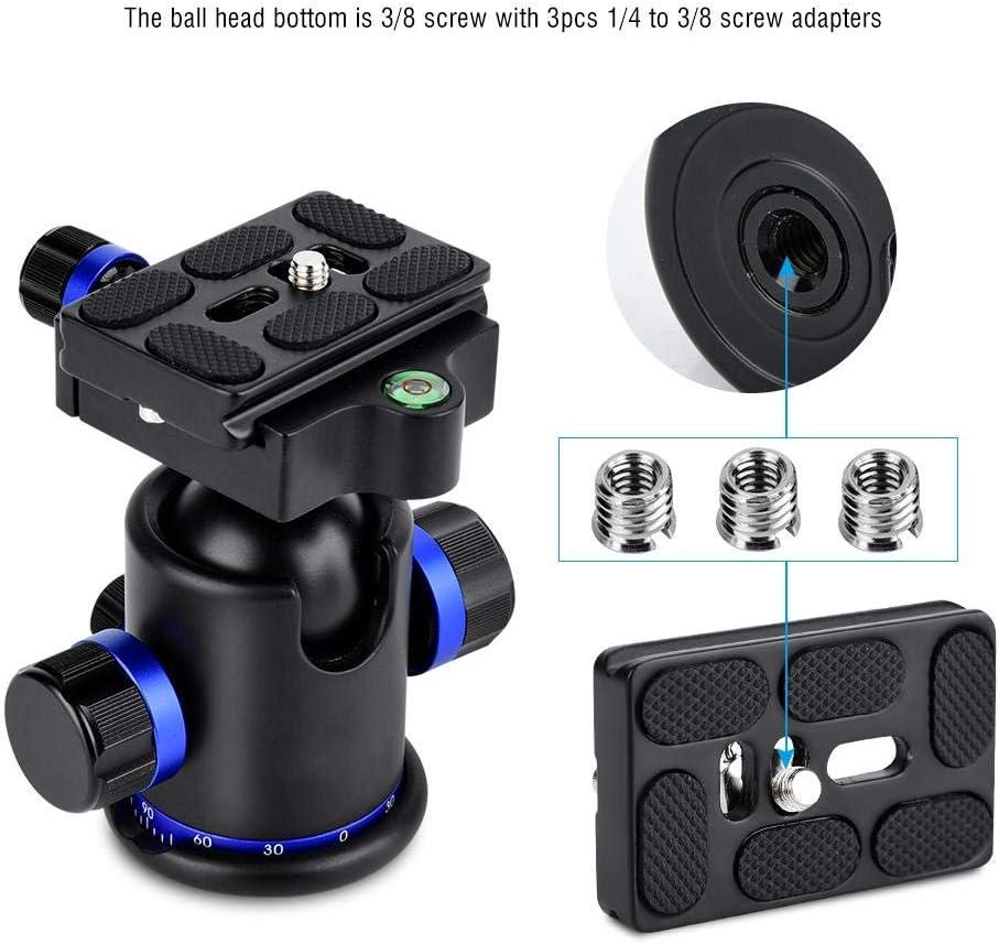 Ballhead Diameter 36mm,Max.Load 5-10kg,53mm Diameter Base Bewinner Head Tripod,Tripod Ball Head Rotating Panoramic with 3pcs 1//4 to 3//8 Screw Adapter,360 Degree Ballhead with 3 Locking Knob Blue