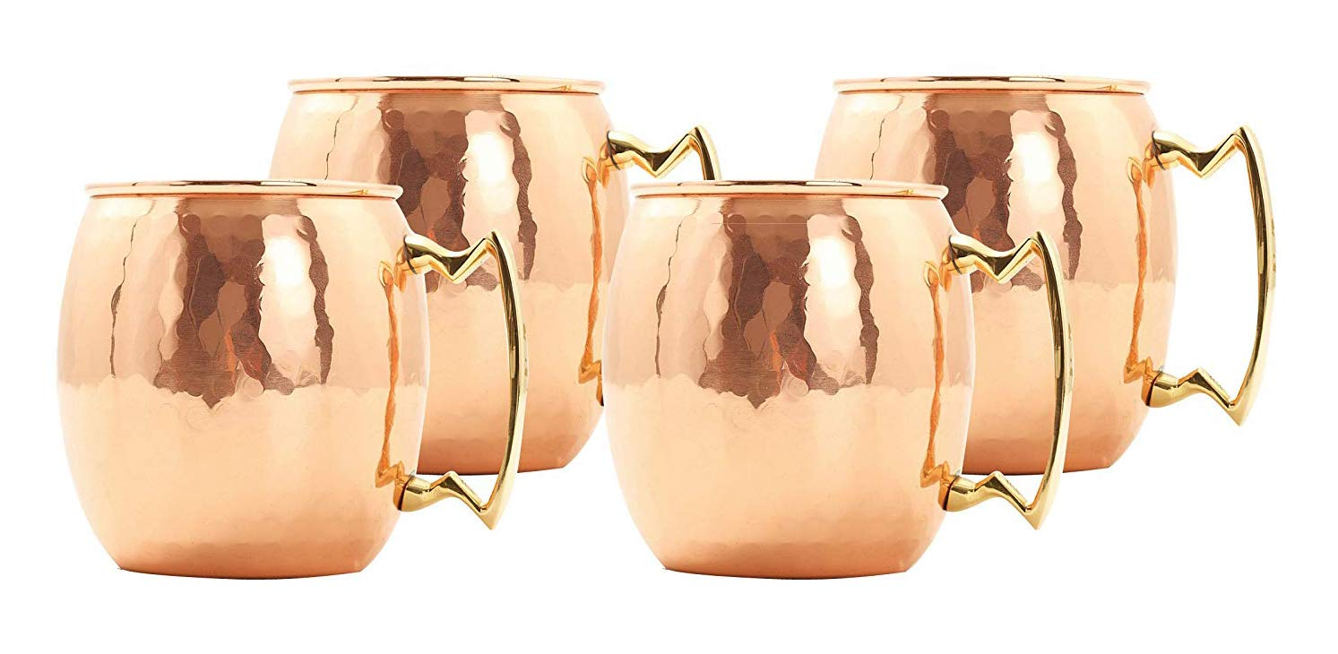 Deco 89 18 Ounce Drinking Mug, Set of 4 Moscow Mule Hammered Copper