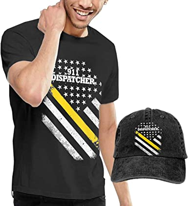 WWTBBJ-B 911 Dispatcher Thin Gold Line Adult Mens Cool T Shirt and Outdoor Jean Hat