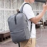 学院休闲双肩包 简约学生电脑书包USB充电时尚商务背包大容量户外旅行收纳包 (格子灰)