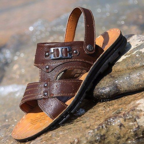 Sommer Das neue Echtleder Sandalen Männer Trend Schuhe Männer Lässige Schuhe Jugend Rutschfest Dualer Gebrauch Strandschuhe ,braun,US=9?UK=8.5,EU=42 2/3?CN=44