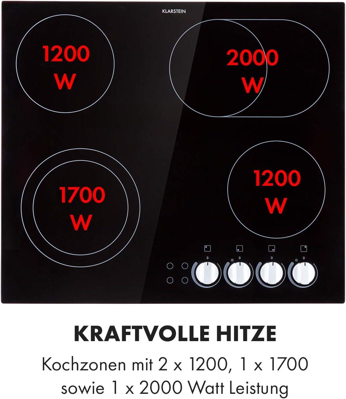 2 Zonen get/öntes Glas rahmenlos schwarz 3000 Watt Kontrollleuchten Klarstein EasyCook Domino Keramikkochfeld 29 cm stufenlose Drehregler Einbaukochfeld