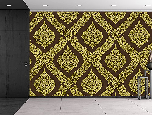 Thai flower pattern in a traditional style Temple Tapestry Gold and Brown Classic exquisite design Wall Mural