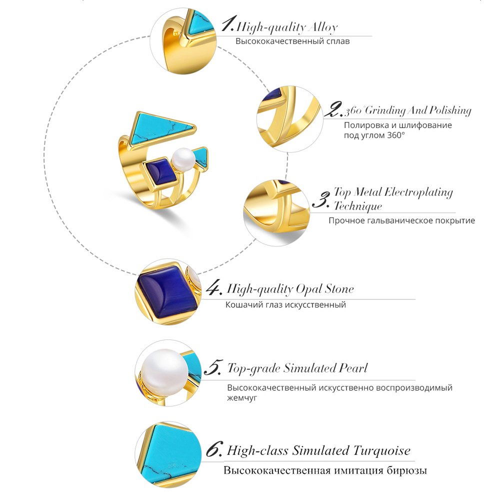 Dudee Gold Color Geometric Size Ring for Woman sterling silver engagement ring fashion rings women