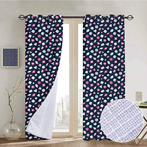 NUOMANAN Blackout Curtains 2 Panels Diamonds,Round Marquise Square and Heart Shape Arrangement on Dark Color,Dark Blue Pink Baby Blue,for Room Darkening Panels for Living Room, Bedroom 84