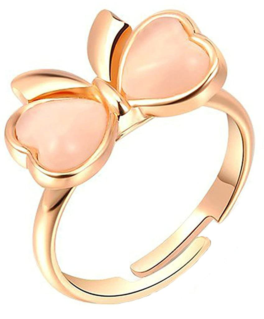 Bishilin 18K Gold Plated Women Wedding Rings Butterfly Bow Tie Rose Gold Size 8