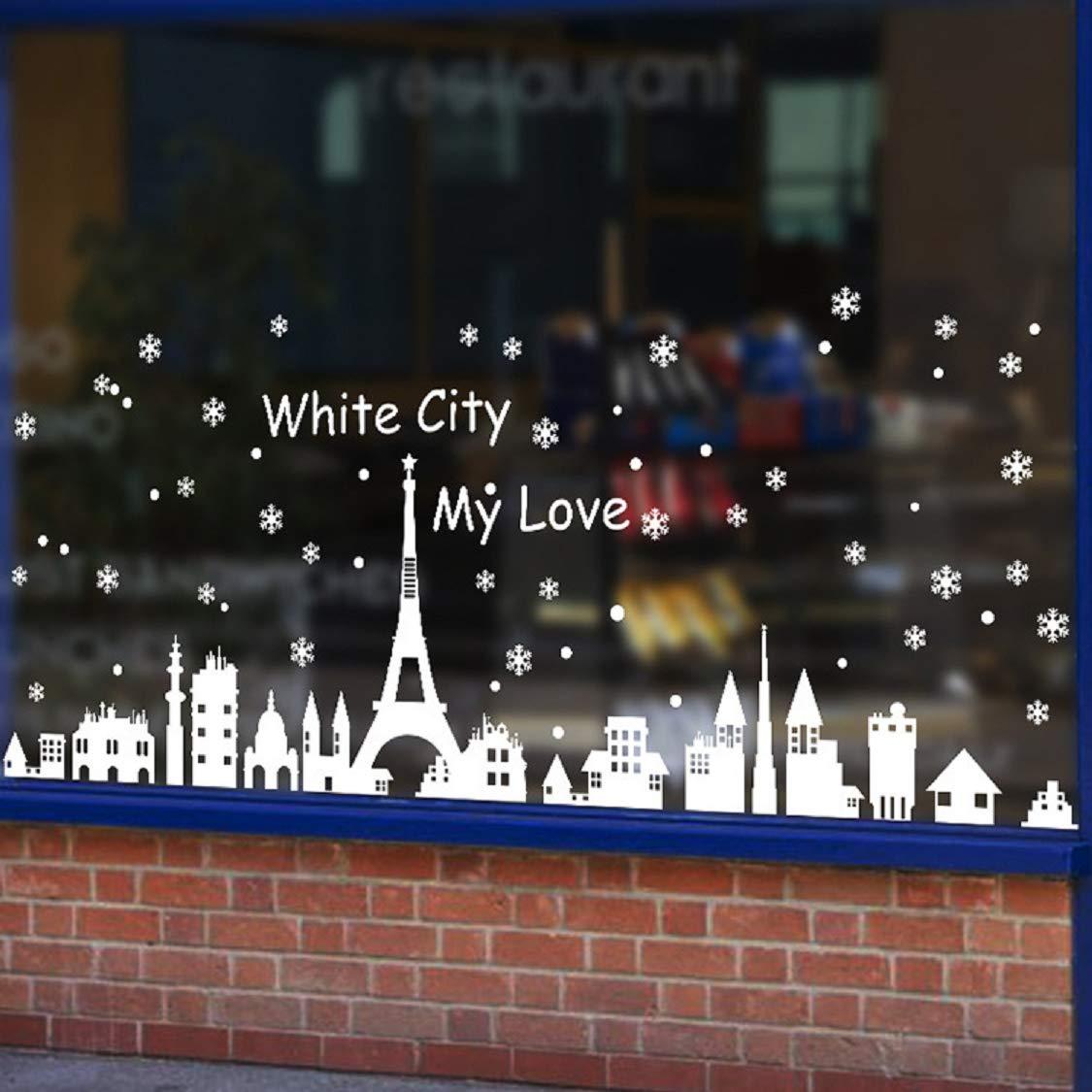 heekpek Decorazione Natalizia Adesivi per Finestre Adesivi Natalizi PVC Riutilizzabile Città Bianca Decorazione per la casa Adesivi
