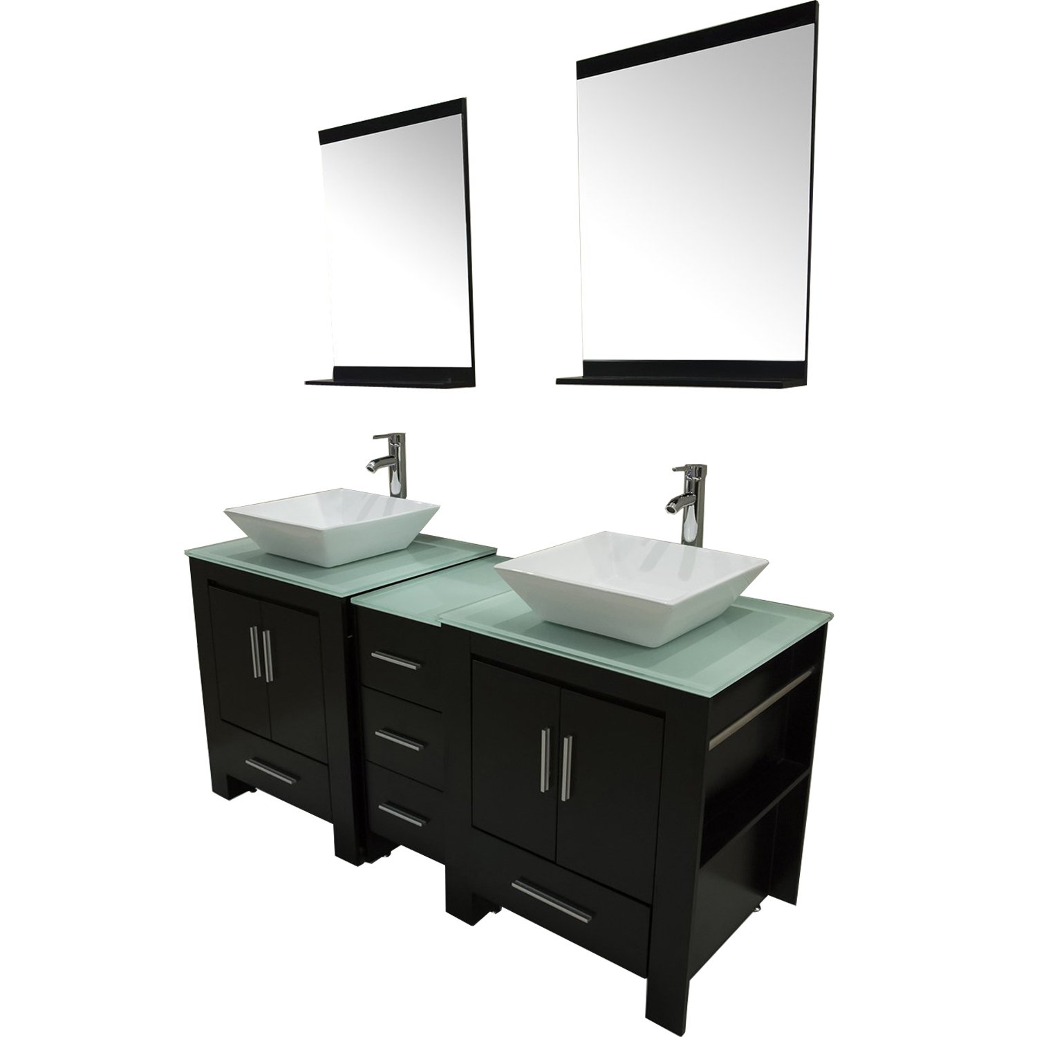 Walcut Luxury 60'' Modern Double Ceramic Sink Solid Wood Bathroom Vanity Cabinet With Mirror And Tempered Glass Table Board by WALCUT (Image #2)