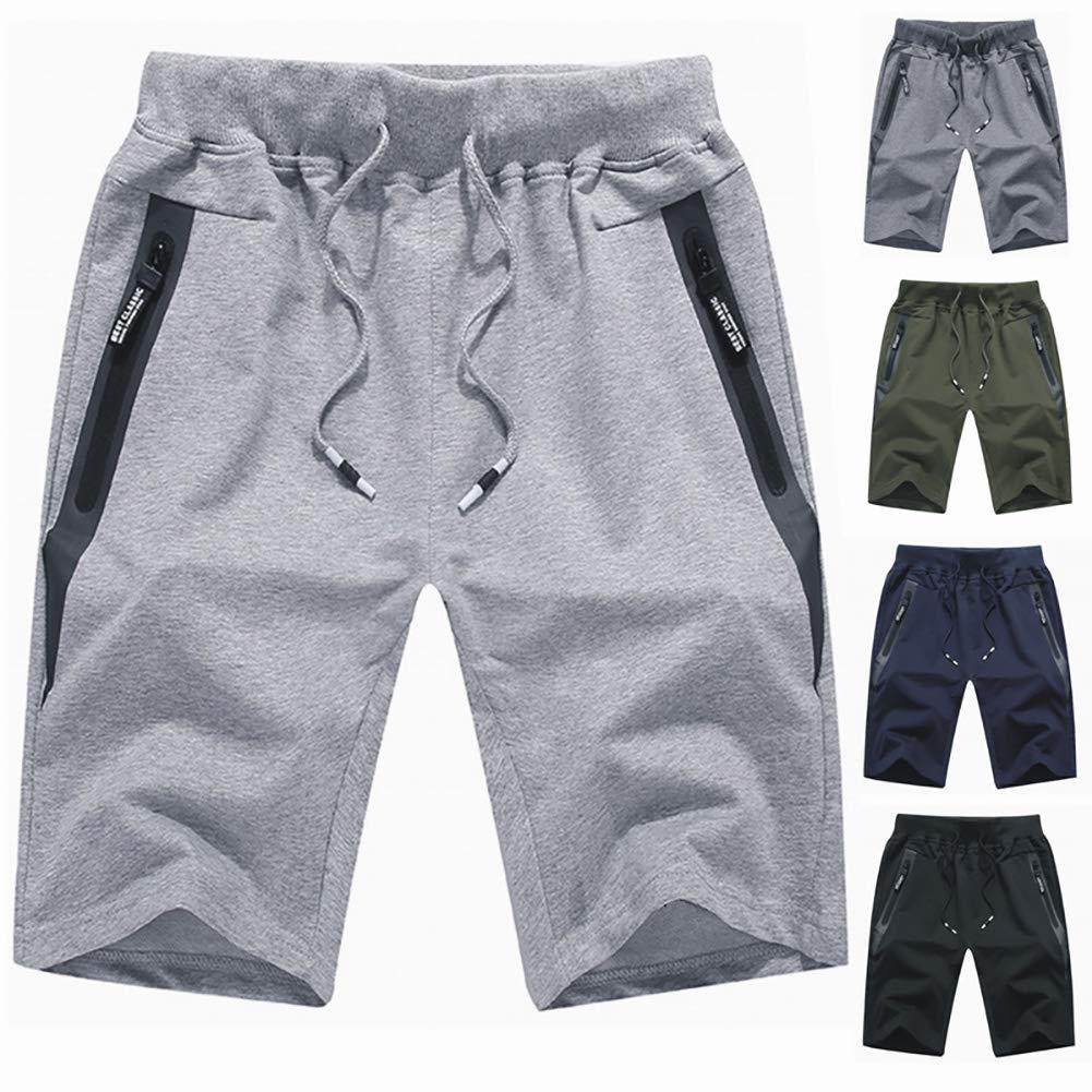 OLUOLIN Mens Fashion Jogger Sports Shorts-Plus Size Athletic Workout Gym Running Elastic Waist Pants Zip Pockets