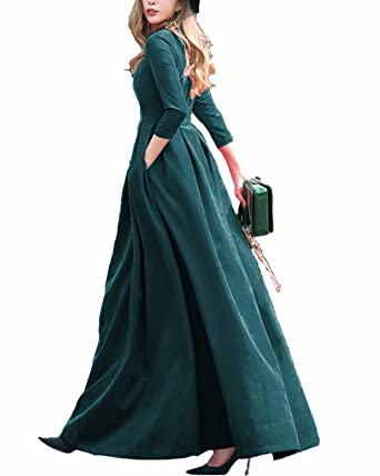 ebf5aa90200 BIUBIU Women's Vintage Long Sleeve Evening Gown Maxi Long Cocktail Party Dresses  Dark Green UK 18