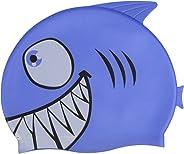 Combo 2 Toucas Silicone Touquinha Infantil Tubarão Peixinho Água Viva Esporte Natação Piscina Nadar Menino Menina Promoção Li